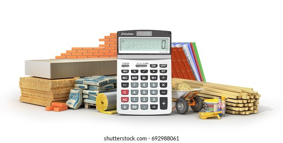 Calculating materials costs. Set of construction materials and tools with calculator isolated on a white background. 3d illustration