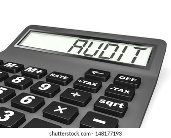 Calculator with AUDIT on display on white background. 3D illustration.
