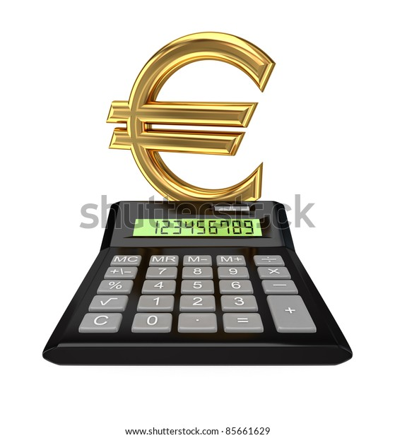 Calculator and euro sign.Isolated on white background.3d rendered.