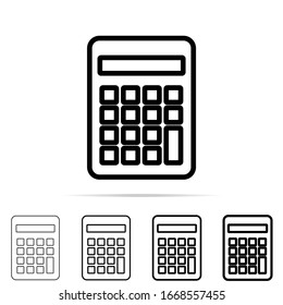 Calculator icon in different shapes, thickness. Simple thin line, outline of education icons for UI and UX, website or mobile application on white background