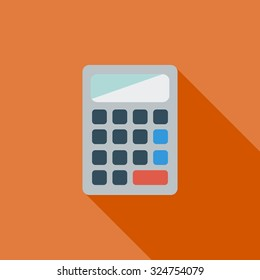 Calculator icon. Flat related icon with long shadow for web and mobile applications. It can be used as - logo, pictogram, icon, infographic element. Illustration.