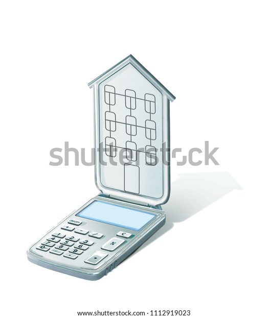 Calculator with a lid in the shape of a house with windows and a.