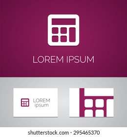 calculator logo template icon design elements with business card