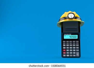 Calculator with miner hat isolated on blue background. 3d illustration