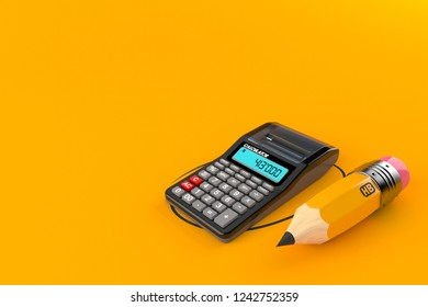 Calculator with pencil isolated on orange background. 3d illustration