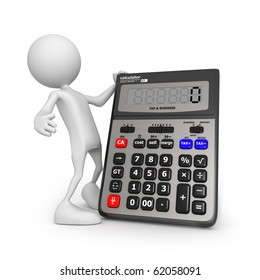 Calculator. Small unrecognizable people on 3D high quality render. Image isolated on white background.