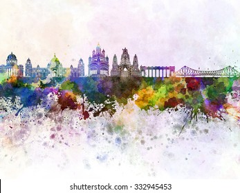 Calcutta skyline in watercolor background