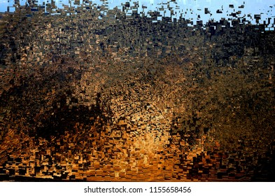 the caldera of yellowstone, tribute to Pollock, abstract expressionism, art, digital, abstract illustration with mosaic effects of gradient colors ocher, orange, yellow,