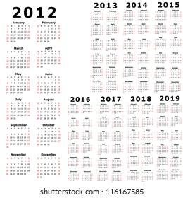 2013 To 2019 Calendar April 2012 Stock Illustrations, Images & Vectors | Shutterstock