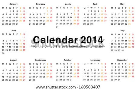 calendar 2014 template design blank printable