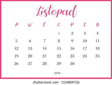 "Calendar 2018 listopad Translation: ""November"""