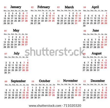 calendar for 2018 on the white background with empty place for text in the middle