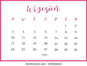 "Calendar 2018 Wrzesień Translation: ""September 2018"""