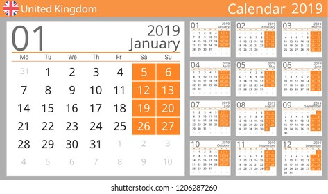 calendar 2019 year for united kingdom country english language set of 12 months