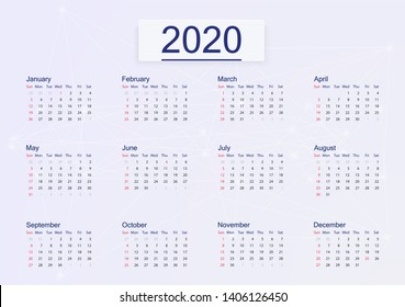 Calendar 2020 isolated on pink background.