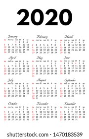 Calendar for 2020 isolated on a white background. Sunday to Monday, business template