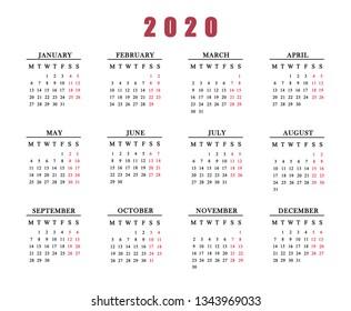 Calendar for 2020 on white background.