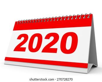 Calendar 2020 on white background. 3D illustration.