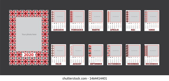 Calendar 2020, Calendar template design with traditional motifs and place for photo. Romanian language