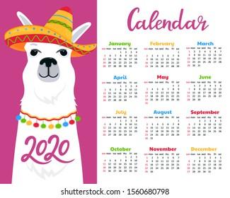 Calendar for 2020. Week start on Sunday. Cute llama in a sombrero