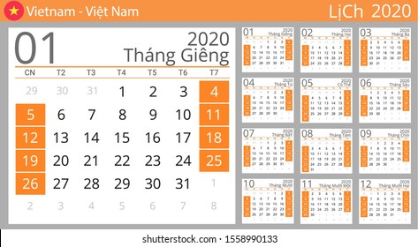 Calendar 2020 year for Vietnam country. Vietnamese language. Set of 12 Months. Week starts on Sunday