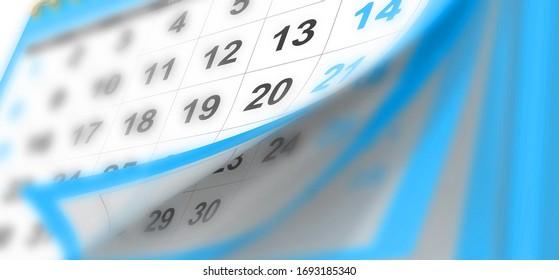 arrière-plan calendrier pages volantes mensuelles flou rouge changement - rendu 3d