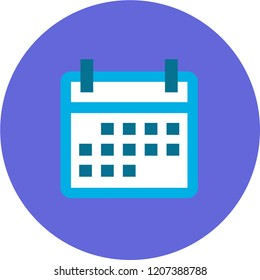 Calendar blue icon in violet background for mobile application