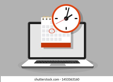 Calendar and clock on laptop screen. Schedule concepts. Modern flat design graphic elements. illustration