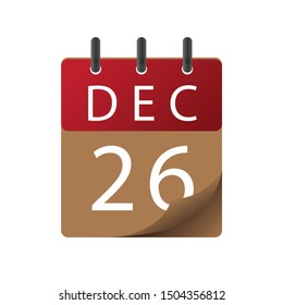 Calendar, December 26, icon illustration isolated  sign symbol, Appointment date, Sale promotion.