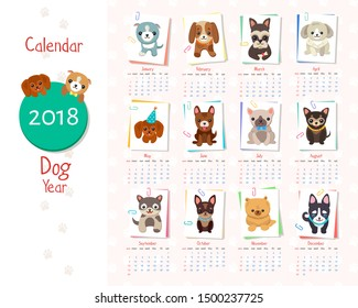 Calendar dog year set of images, circle and year inside, months with title and icon of puppy by them, raster illustration isolated on white background