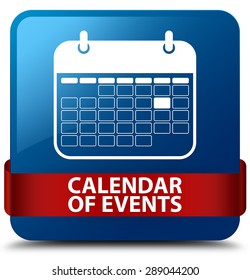 Calendar of events blue square button