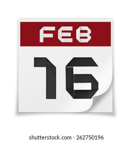 Calendar of February 16, on a white background.