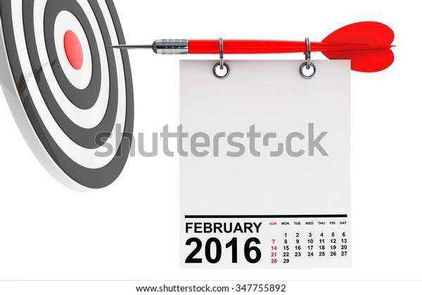 Calendar February 2016 On Blank Note Stock Illustration