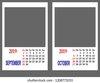 Calendar grid for 2019. Two months are September and October.