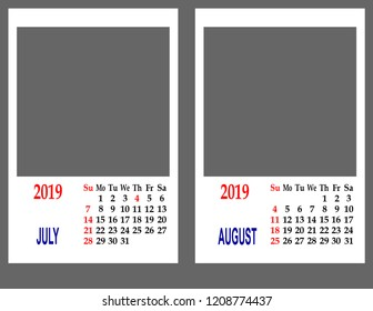 Calendar grid for 2019. Two months July and August.
