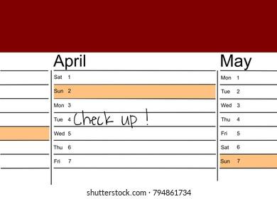 calendar handwritten memo medical checkup stock illustration