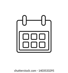 Calendar Icon in trendy line style. Event planner icon. Calendar symbol for your web site design, logo, app, UI.