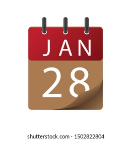 Calendar, January 28, icon illustration isolated  sign symbol, Appointment date, Sale promotion.