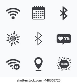 Calendar, like counter and go to web icons. Wifi and Bluetooth icons. Wireless mobile network symbols. Password protected Wi-fi zone. Data transfer sign. Location pointer.
