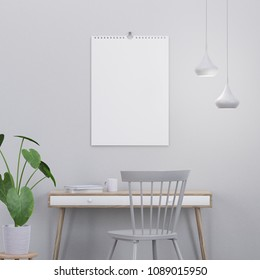 Calendar mockup in modern interior with a console, a chair and a plant, 3D render