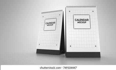 calendar mockup.3d rendering and illustration.