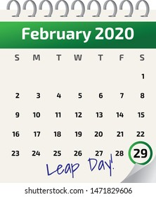 Calendar of the month February 2020 - the next leap year, with February 29 marked as leap day. Calendar is an illustration, with rings and green banner. Marking of leap day is green.