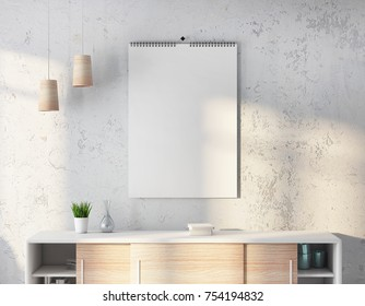 Calendar on the wall in white room, mockup 3d rendering