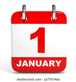 Calendar on white background. 1 January. 3D illustration.