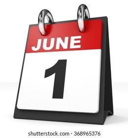 Calendar on white background. 1 June. 3D illustration.