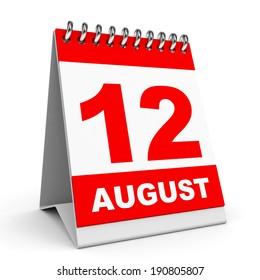 Calendar on white background. 12 August. 3D illustration.