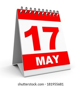 Calendar on white background. 17 May. 3D illustration.