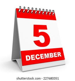 Calendar on white background. 5 December. 3D illustration.