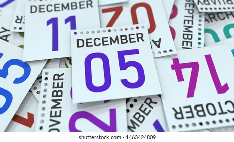 Calendar page shows December 5 date. 3D rendering