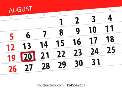 Calendar planner for the month, deadline day of the week 2018 august, 20, Monday